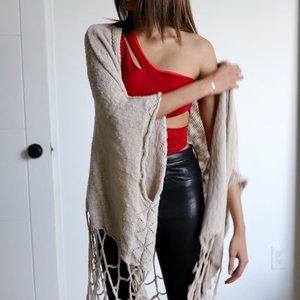 Tops - Vintage Draped Fringe Cardigan